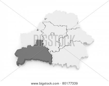 Map of Brest region. Belarus. 3d