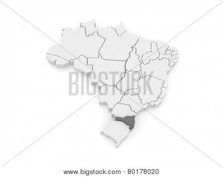 Map of Santa Catarina. Brazil. 3d