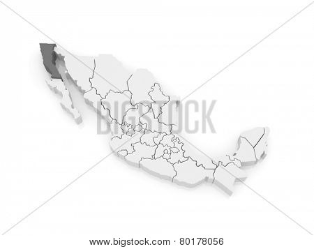 Map of Baja California. Mexico. 3d