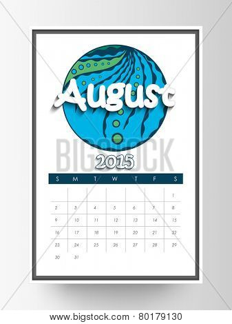Monthly calendar of August 2015 on white background.