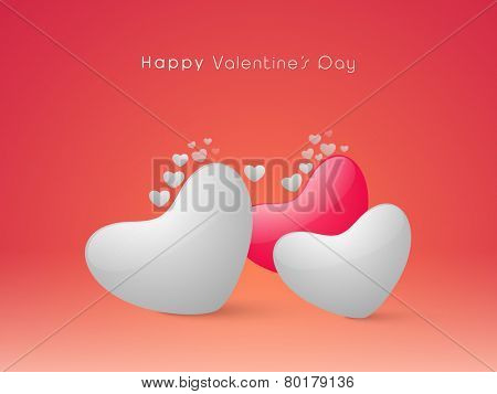Happy Valentine's Day celebration greeting card design with glossy hearts on shiny red background for Happy Valentine's Day celebration.