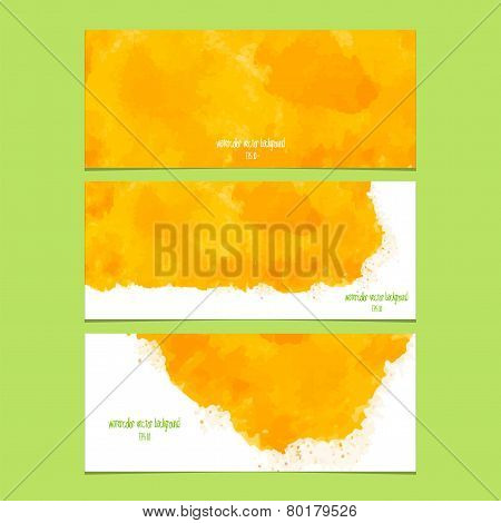 Vector Banners With Watercolor Yellow.
