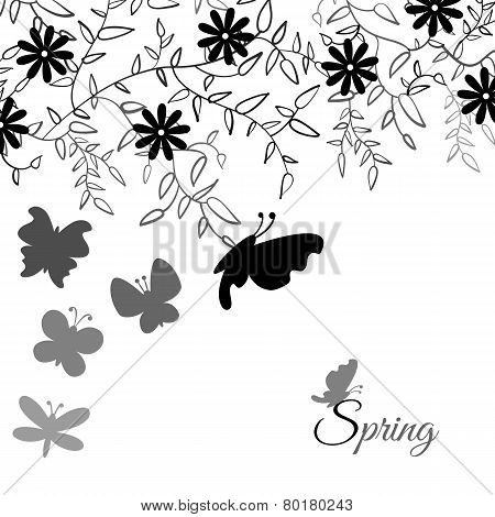 Bouquet of cute flower and butterfly, floral background. Vector