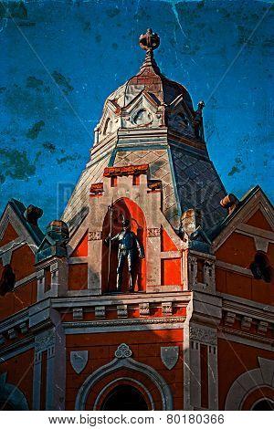 Old Photo With Facade On Historical  Building. Novi Sad, Serbia