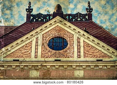 Old Photo With Facade On Classical Building. Novi Sad, Serbia