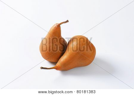European pears with elongated slender neck and russeted skin