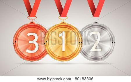 Illustration of gold, silver and bronze medal