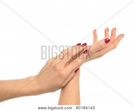 Woman Hands With Manicured Red Nails Isolated