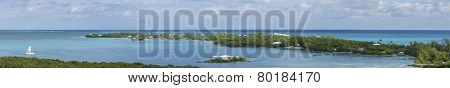 180 degree panorama of Elbow Cay in the Bahamas