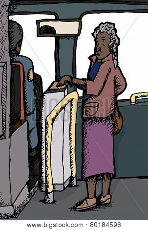 Mature Woman Paying Bus Fare