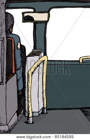 Rear View Of Bus Driver