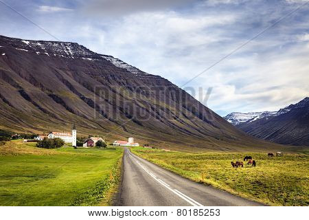 Town of Holar in Iceland