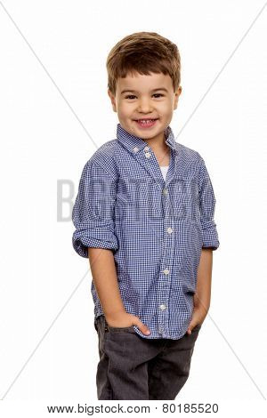 little boy in pose, symbol of childhood mischievousness, cleverness