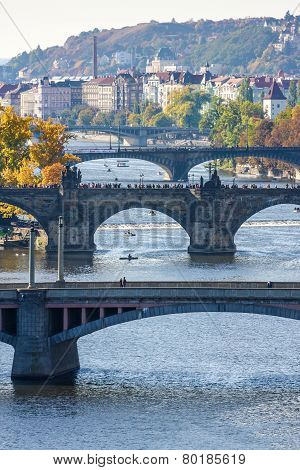 View of bridges on Vltava river