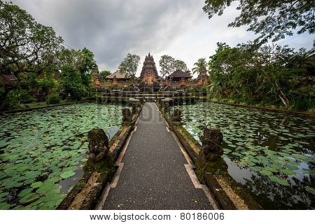 Lotus Pond And Pura Saraswati Temple In Ubud, Bali, Indonesia