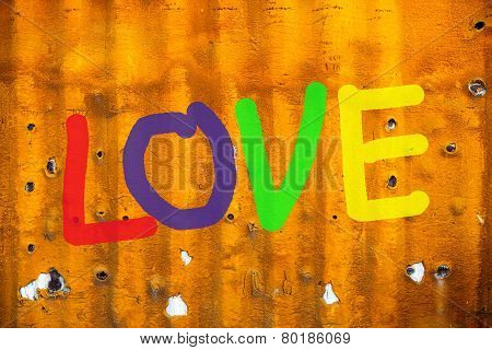 Word Love (uppercase) On Old Containers Background