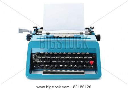 a retro blue typewriter with a blank paper on a white background