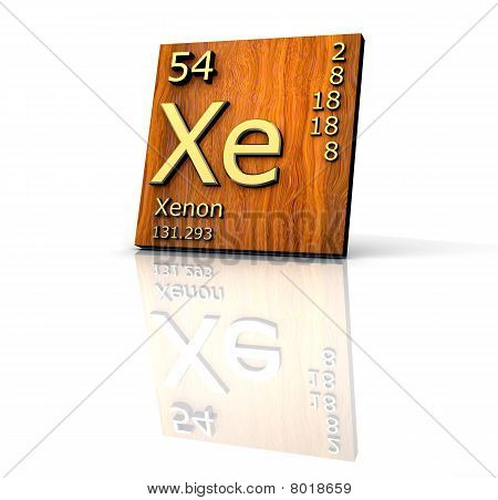 Xenon Form Periodic Table Of Elements - Wood Board