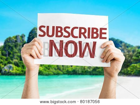 Subscribe Now card with a beach on background
