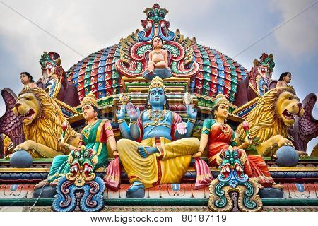 Detail Of Colorful Sri Mariamman Temple In Singapore