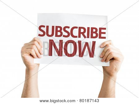 Subscribe Now card isolated on white background