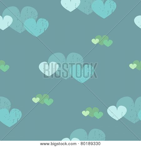 Cute pattern with textured hearts