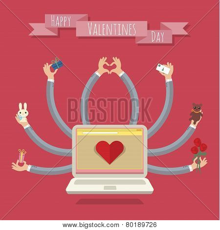 Many-hands laptop. Valentine card