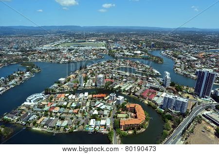 Aerial View Of Surfers Paradise Queensland Australia