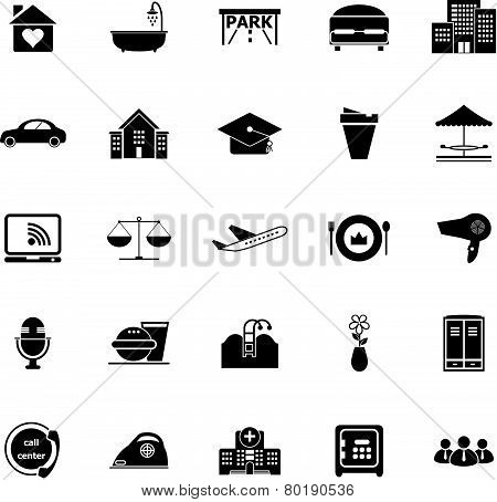 Hospitality Business Icons On White Background