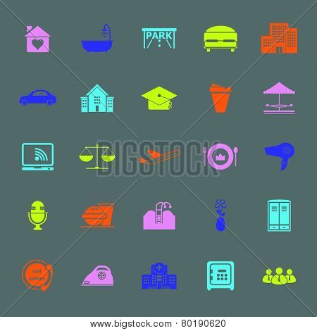Hospitality Business Color Icons On Gray Background