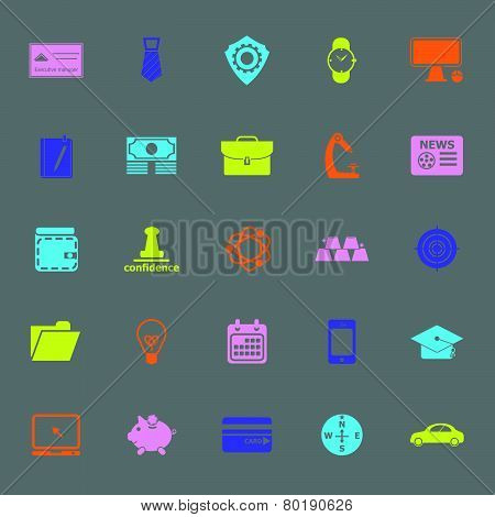 Businessman Item Color Icons On Gray Background