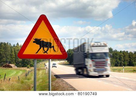 Moose Sign on highway