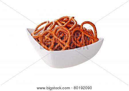 Roasted And Salted Pretzels On A White Bowl, White Background
