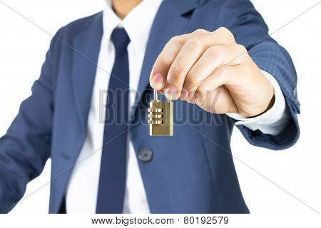 Businessman Hold Brass Combination Lock Isolated On White Background