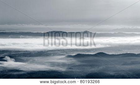 Morning Mist at Tropical Mountain Range