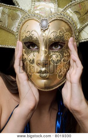 Portrait Of Girl In A Venetian Mask