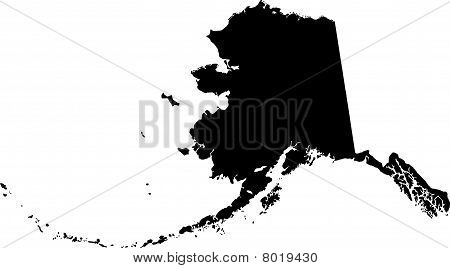 black vector map of Alaska
