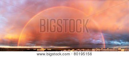 A double rainbow over the city