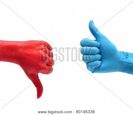 red hand blue hand