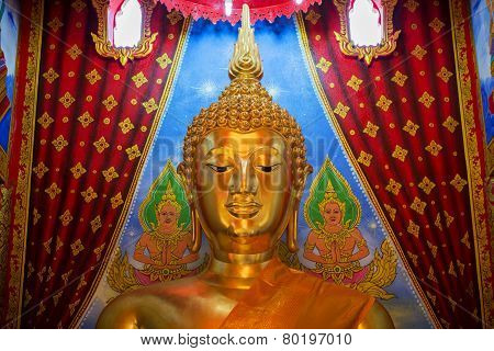 golden buddha statue in temple of Thailand. This statue is public in thailand. No any trademark or
