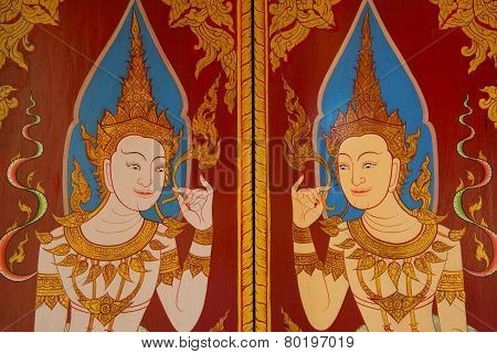 guardian angel traditional Thai style art painting on wall  in temple