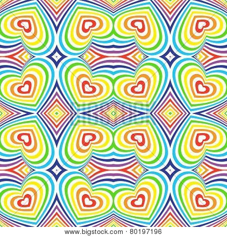 Three-dimensional Volumetric Seamless Pattern. Colorful Rainbow On White Background. Vector