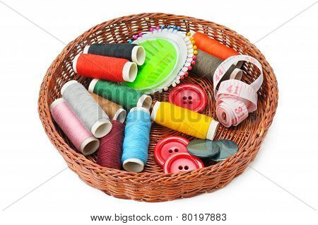 Thread And Buttons In A Basket