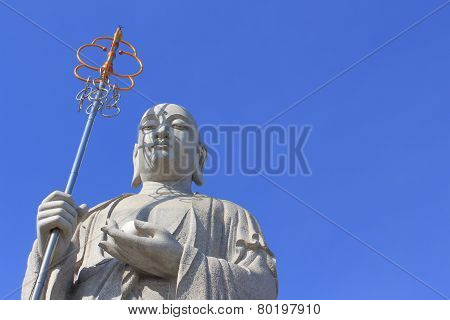 Big Buddha Priest Chinese Style With Blue Sky At Donwai Temple, Nakornpathom, Thailand On February 2