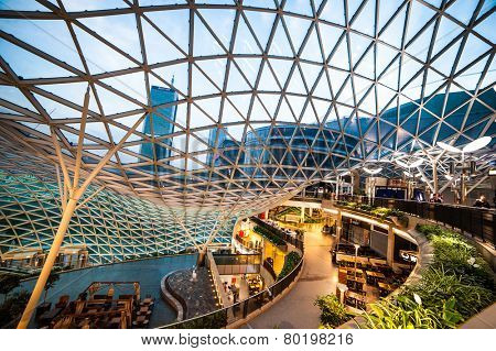 Warsaw, Poland - November 01, 2014: Shopping center Golden Terraces one of the most popular and visited shopping centers in Warsaw.