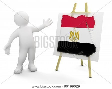 Man and Egyptian map (clipping path included)