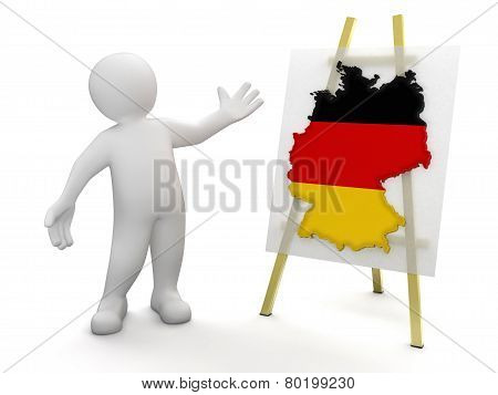 Man and German map (clipping path included)