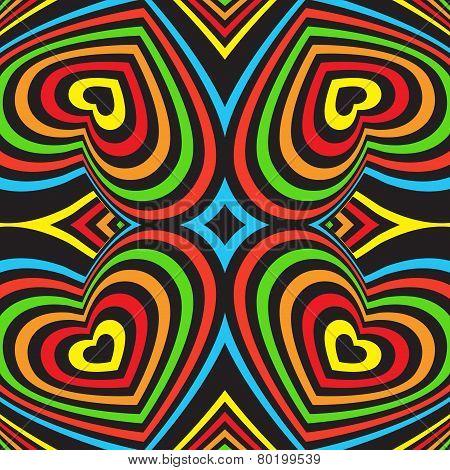 Three-dimensional Volumetric Seamless Pattern. Colorful Rainbow On Black Background. Vector