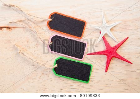 Wooden Tag Label On And Star Fish