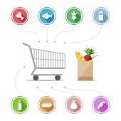 stock photo of grocery cart  - Buying food icons - JPG